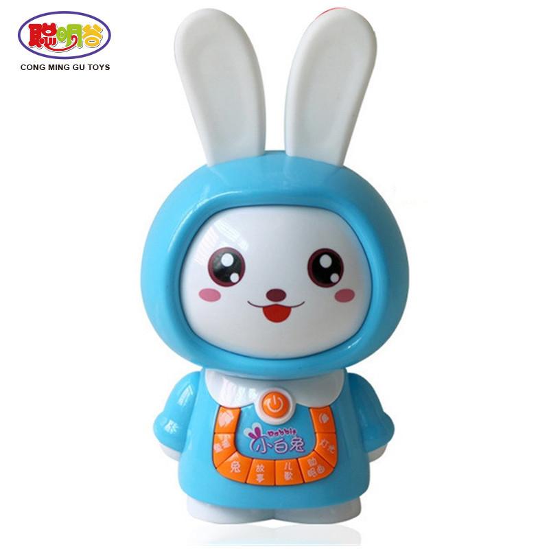 早教硅胶耳朵卡通兔子可爱学习机故事机 灯光音乐小白兔儿童早教故事