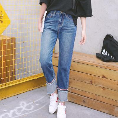 2020夏季新款九分褲女士牛仔褲女高腰時尚修身高彈力牛仔褲輕奢世家-PG