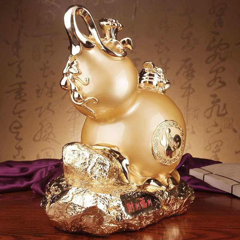礼艺坊招财葫芦风水摆件福到财到金蟾客厅装饰品 中式
