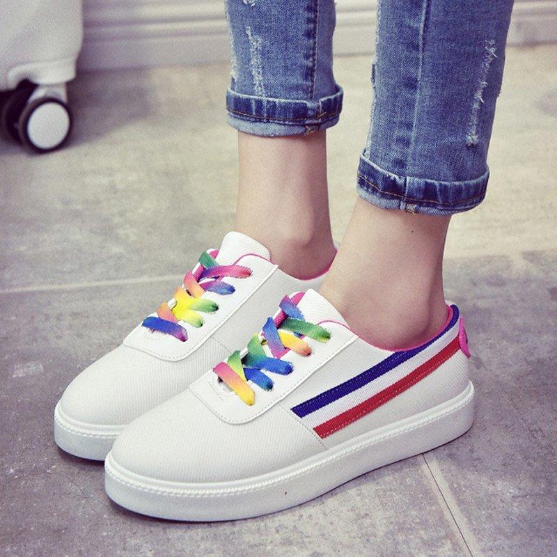 2017韩版夏彩虹鞋带平底小白鞋休闲系带帆布鞋运动学生单鞋潮女鞋