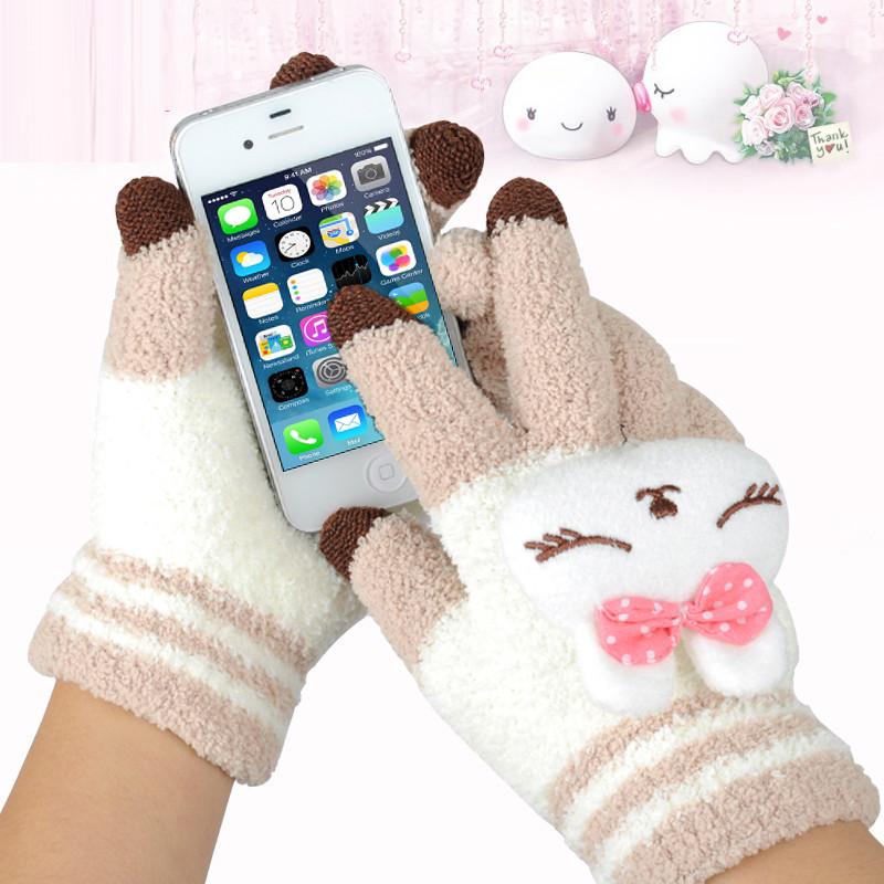 保暖毛线棉手套手套女冬季可爱韩版学生触屏手套男冬卡通加绒加厚