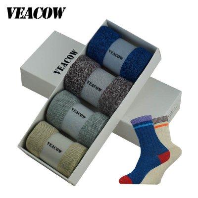 VEACOW 【4双装】 男女双针粗线纯棉情侣袜 保暖运动个性商务中筒袜 礼盒装 2男2女款