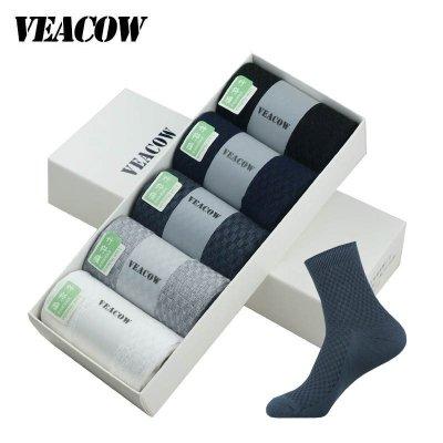 VEACOW 【5雙裝】 男士商務休閑中筒襪 運動休閑竹纖維男襪