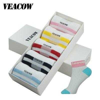 VEACOW 【5雙裝】禮盒裝新款韓國翻邊英文字母條紋二杠襪子女 純棉學院風中筒運動潮女襪