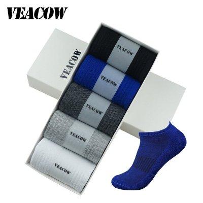 VEACOW 【5雙裝】 男士運動休閑毛巾底船襪 吸汗排汗吸濕防臭運動棉襪