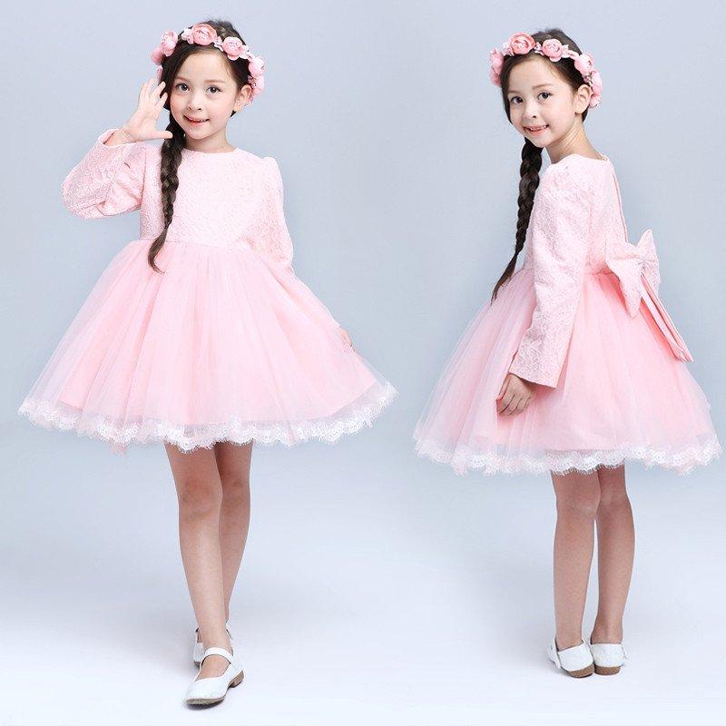 丽兰朵童装秋冬长袖儿童公主裙花童礼服连衣裙蓬蓬裙婚纱裙女孩