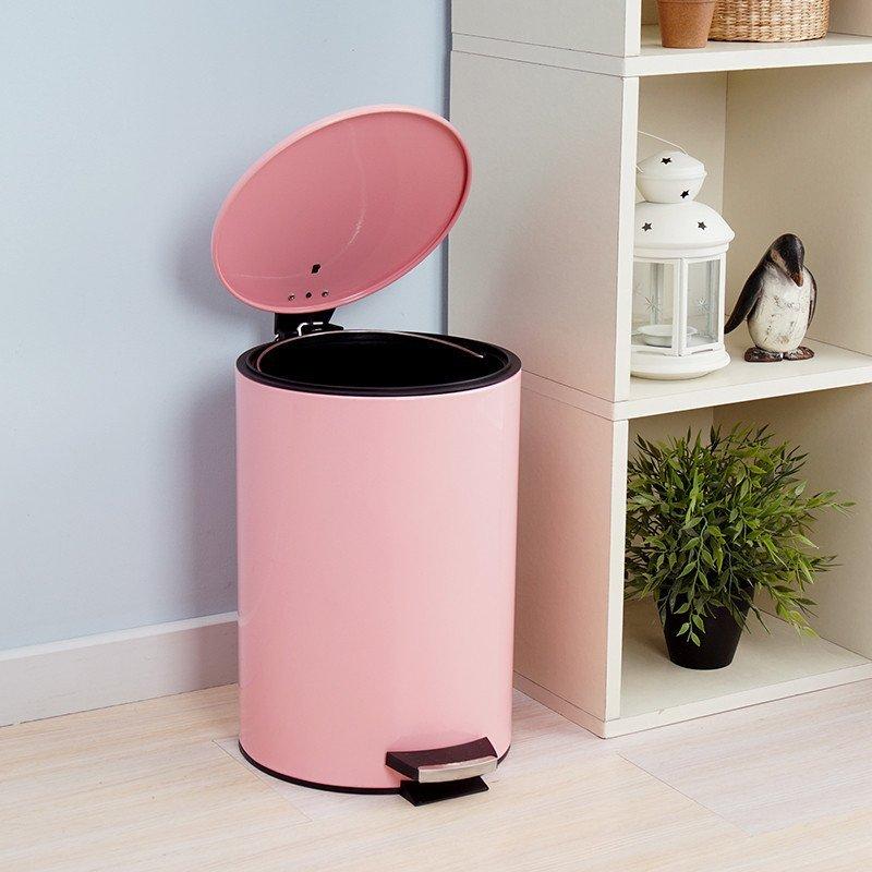 欧润哲12升圆形脚踏垃圾桶 可爱公主粉色带盖收纳桶 家用清洁桶