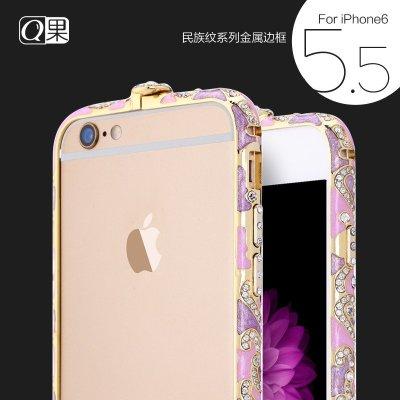 6plus手机壳 水钻 ip6 plus金属边框 保护套新款镶钻潮 金 彩虹紫