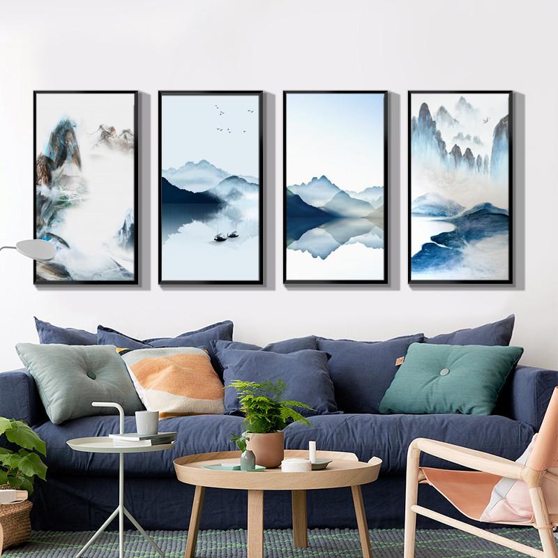 新中式客厅水墨挂画玄关走廊过道装饰画现代简约山水禅意竖版壁画