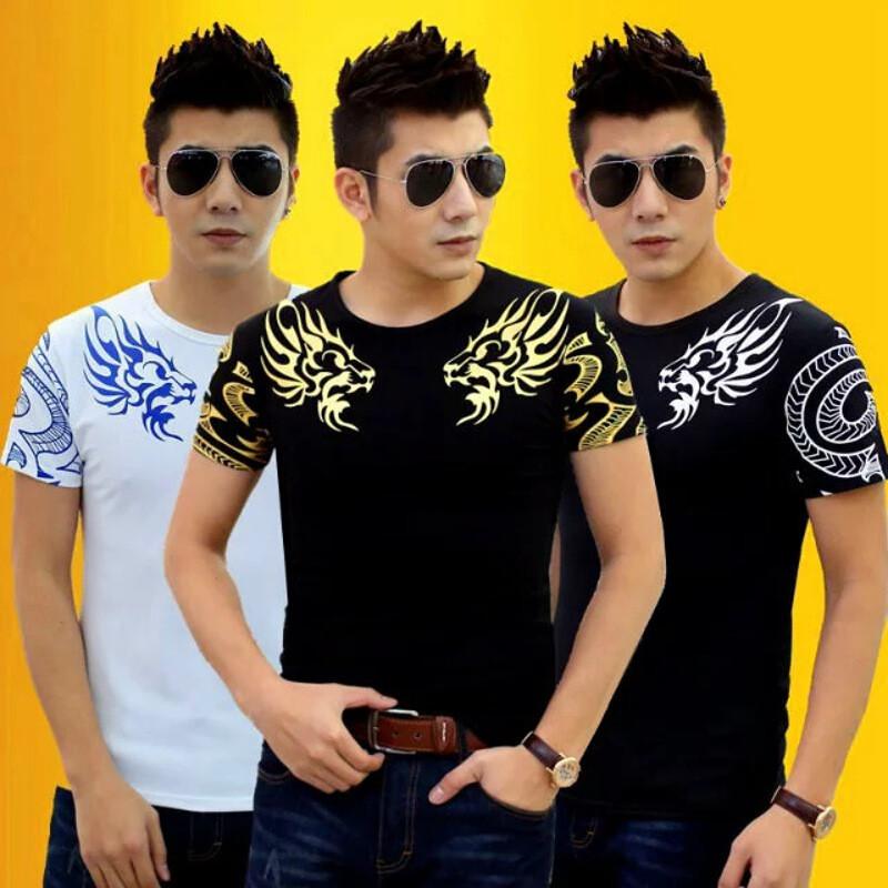 中国风烫金龙印花t恤男短袖纯棉圆领修身半袖潮男个性纹身图案打底衫