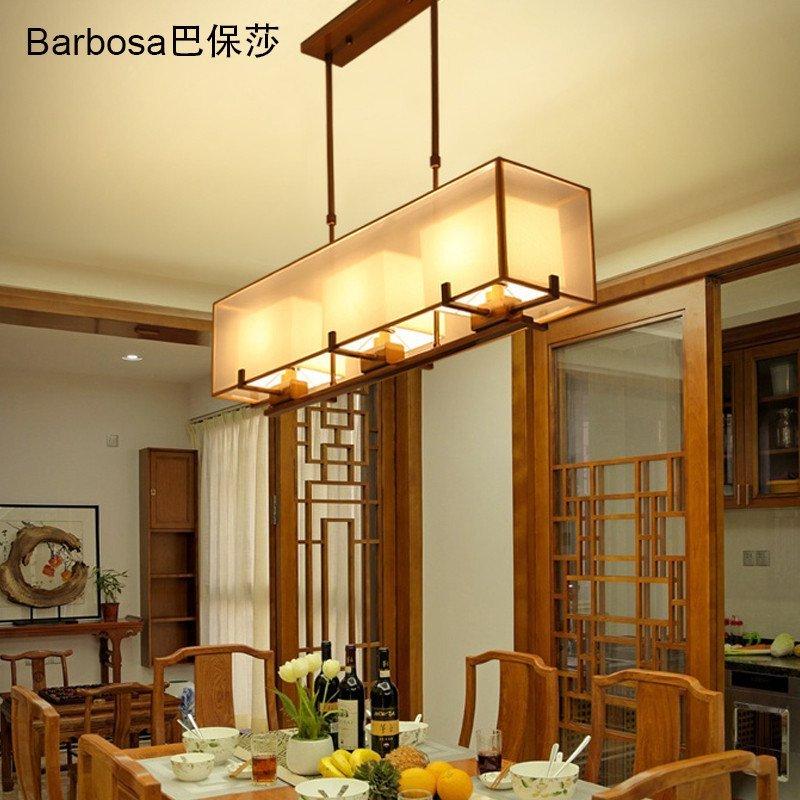 巴保莎長方形新中式餐廳吊燈仿古現代簡約客廳臥室中式燈創意鐵藝吧臺