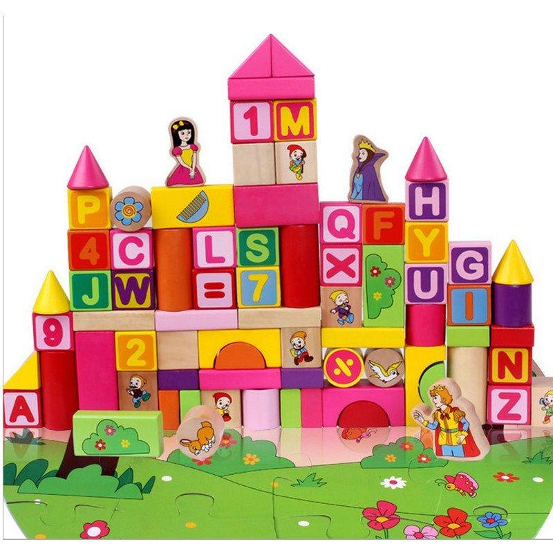 王子大块100粒桶装木质积木儿童城堡益智玩具2 mz88012