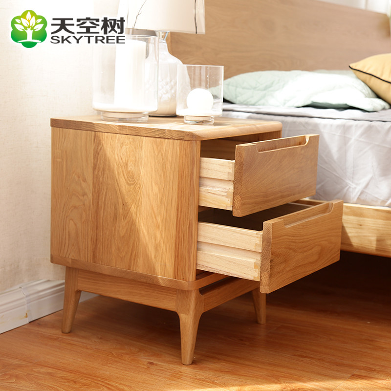 天空树 北欧日式北美全实木头柜 全实木柜子原木环保卧室家具