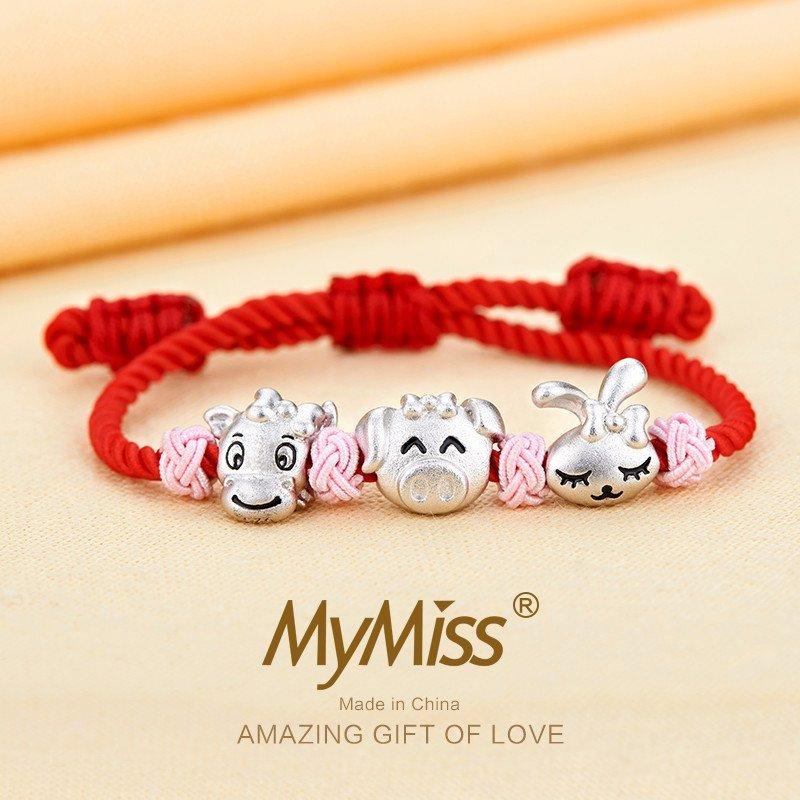mymiss 十二生肖宝宝串串珠925银手链手绳脚链 婴儿童
