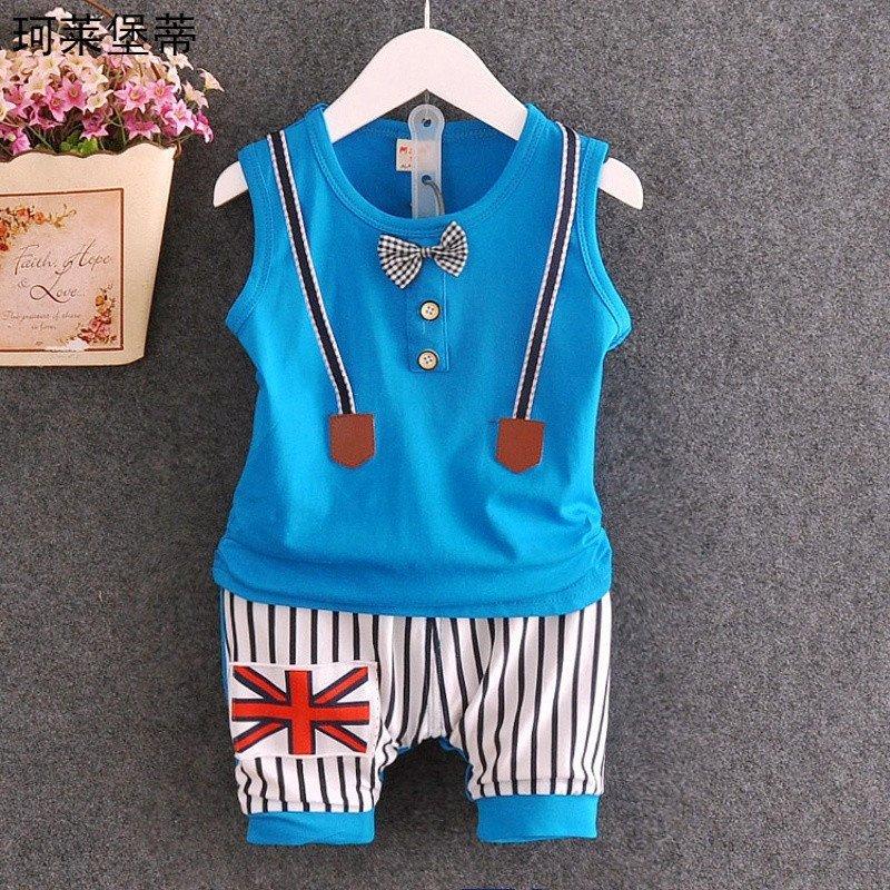 珂莱堡蒂 男宝宝时尚背心套装 领结背带款
