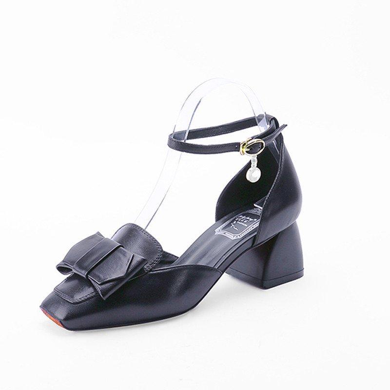 小方头高跟粗跟凉鞋蝴蝶结粗跟低跟一字扣带韩版甜美可爱淑女学生鞋