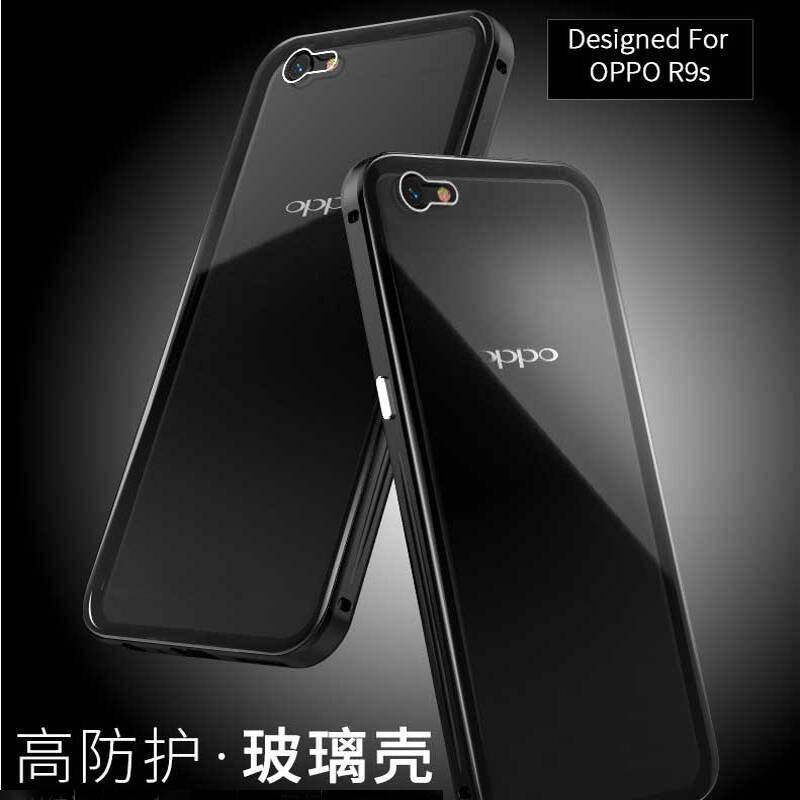 oppor9s金属边框 透明钢化玻璃后盖手机壳全包保护套适用于r9s/r9