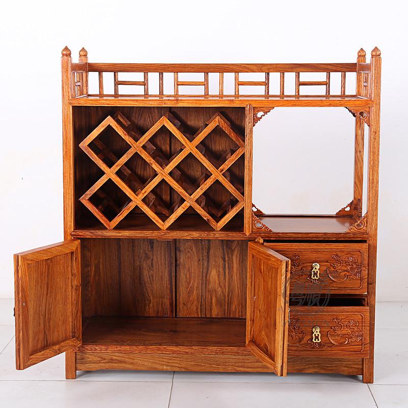 粤顺红木餐边柜 花梨木小酒柜 实木茶水柜 新中式客厅