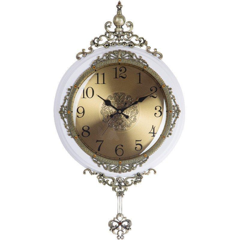 欧式摇摆挂钟美式客厅静音墙壁时钟创意复古田园艺术石英钟表金属表盘