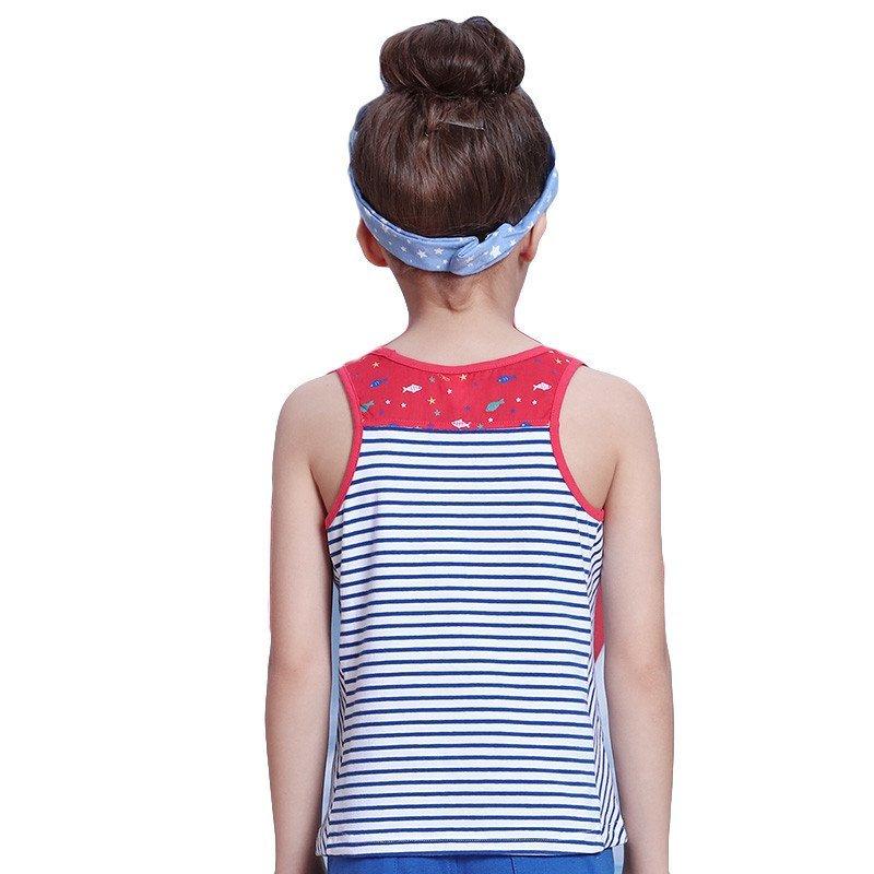 小猪班纳女童条纹针织背心童装2016夏季儿童圆领打底背心女中大童