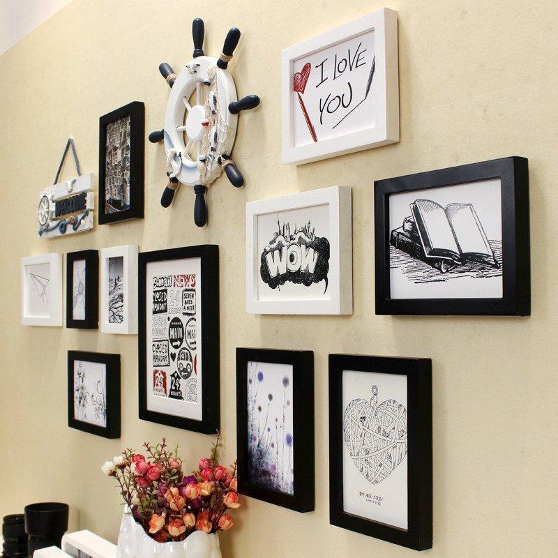 实木照片墙 11框客厅卧室餐厅书房相框墙 创意装饰画组合 相片墙相框