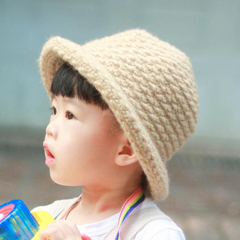 儿童帽子韩版秋冬婴儿小礼帽针织盆帽男童女童宝宝毛线帽渔夫潮春