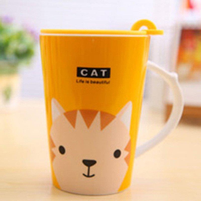 宜莱芙 卡通动物陶瓷杯大容量马克杯 咖啡杯 防滑杯子