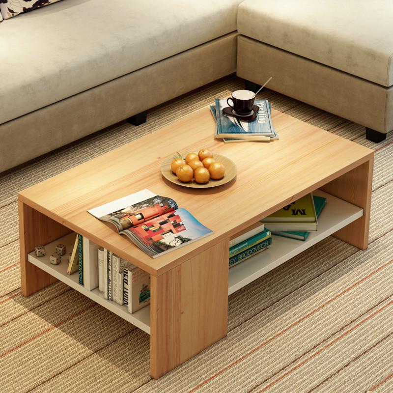 艾窝窝 茶几茶桌边几储物几矮几 简约现代板式茶几 客厅家具 原木色图片