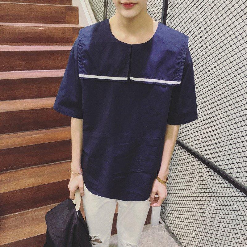 日系韩版潮男生宽松短袖t恤新款夏季可爱水手服领口学生t恤发型师