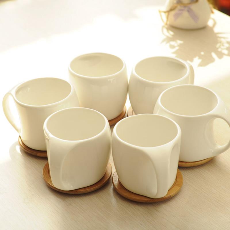 创意杯具套装白色陶瓷水杯套装咖啡杯套装餐饮器皿茶杯套装6杯装图片