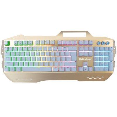蝰蛇t10 白轴机械键盘有线网吧彩色背光游戏键盘有线悬浮式按键金属
