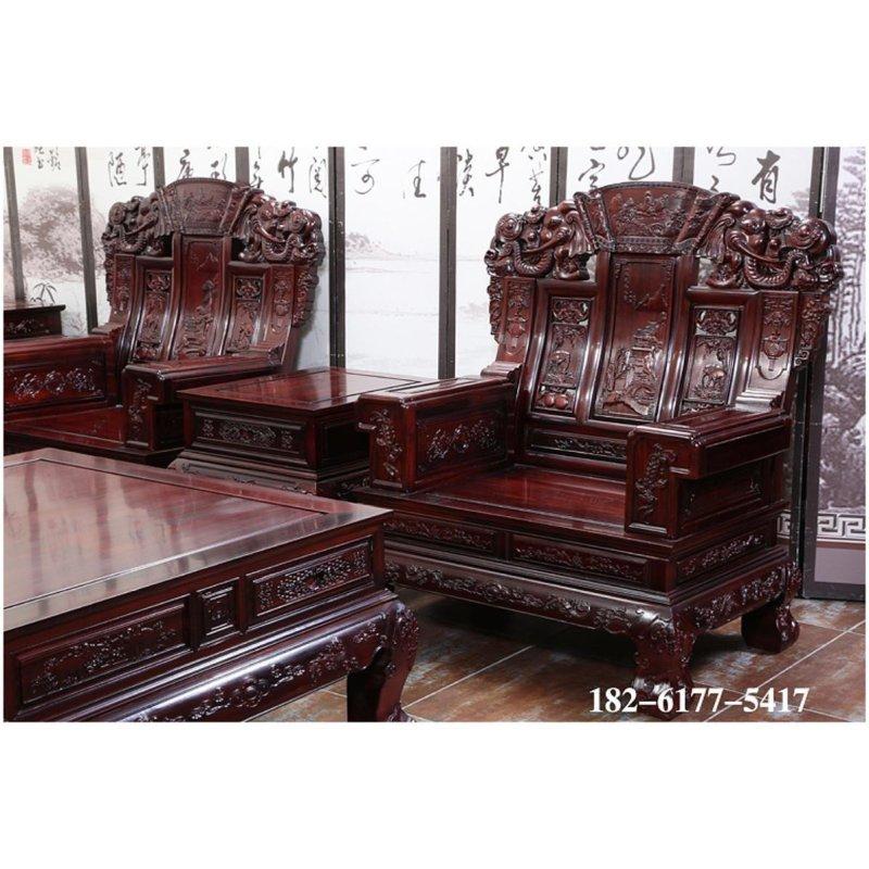 御轩林红木家具 红木家具 南美酸枝木招财大象头十一件套沙发组合