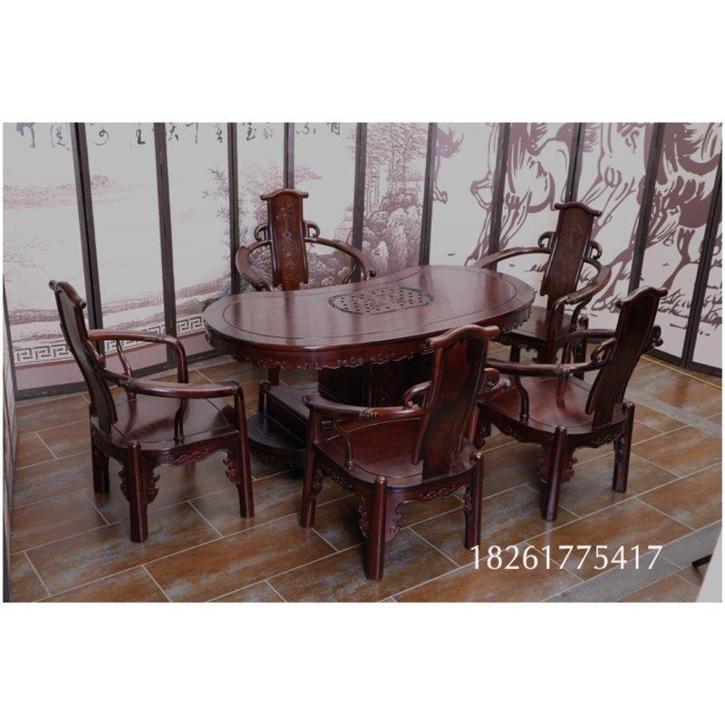 御轩林红木家具 红木茶桌 南美酸枝茶台 实木腰形茶台