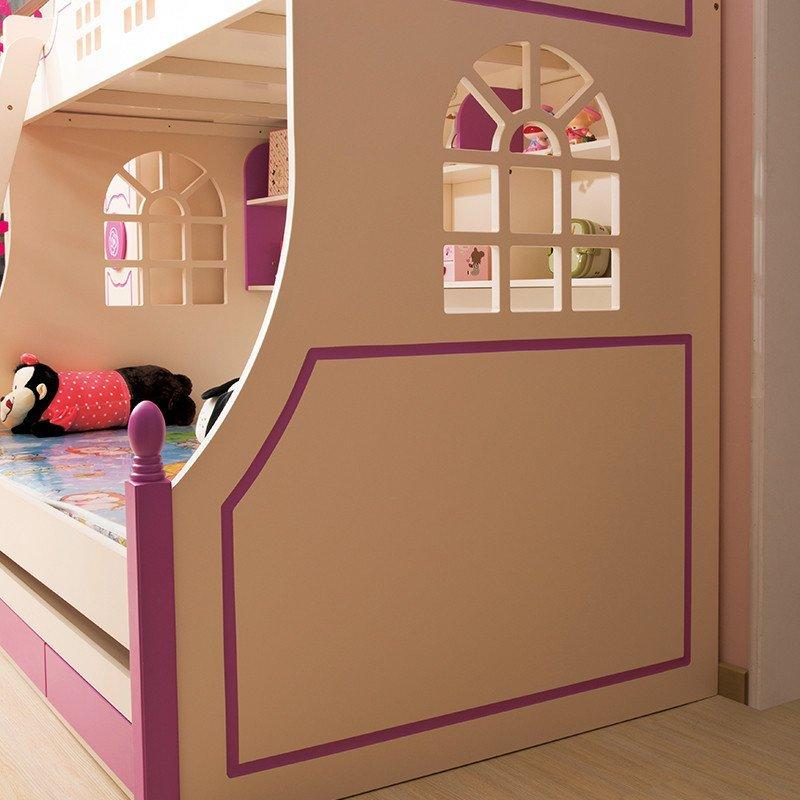 家居密语现代儿童卧室上下床韩式田园子母床小孩床储物床带书架床989