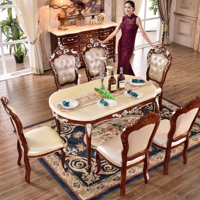 欧式餐桌天然大理石椭圆形桌子餐厅实木