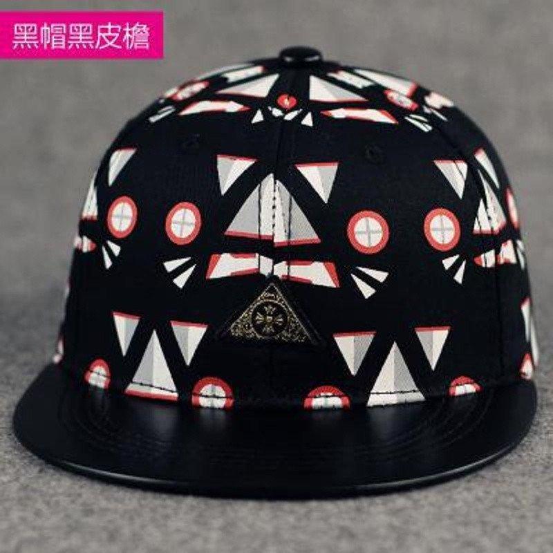 艾凝雪 爱凝雪韩版几何圆形三角形印花嘻哈帽子平沿街舞棒球帽男女