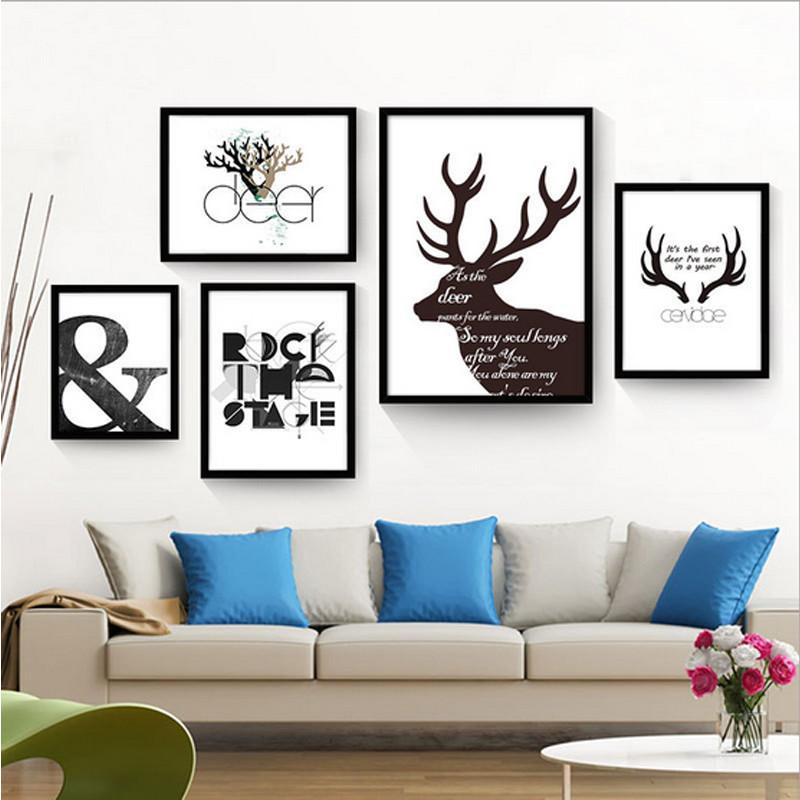 客厅装饰画餐厅挂画卧室床头壁画创意组合墙画美式北欧麋鹿 简约鹿图片