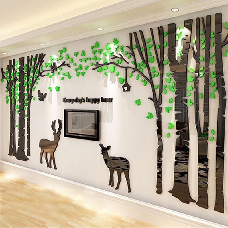 沐坤3d立体亚克力墙贴画沙发电视背景墙贴卧室床头装饰画款三大红叶