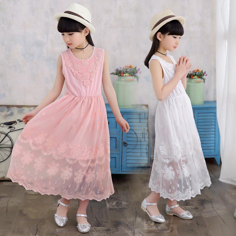 女孩裙子童装女童夏装连衣裙儿童无袖花边网纱长裙5-7-9-11-13岁女童