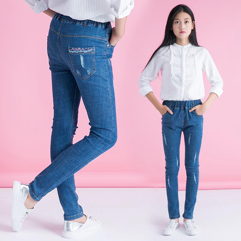 甜美猫 童装女童牛仔裤6-16岁中大童女孩弹力修身牛仔