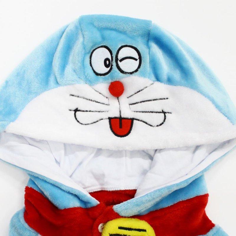 萌萌达法兰绒儿童卡通动物连体睡衣龙猫机器猫秋冬亲子家居服如厕