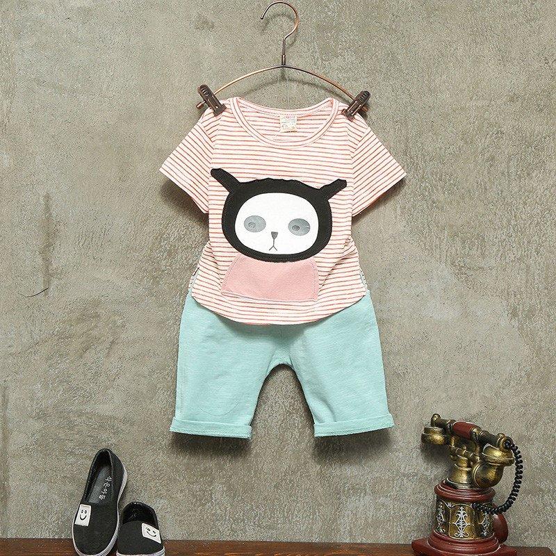 童话元素男宝宝夏装短袖套装1234岁小男童潮童夏季女孩卡通可爱婴幼儿