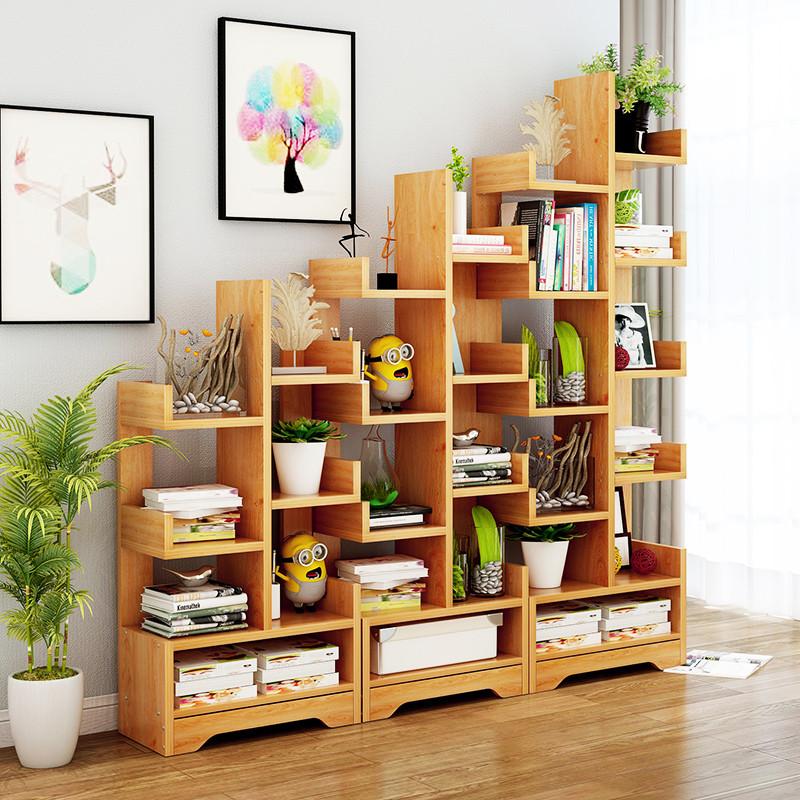 树形书架落地书架置物架简约现代创意简易书橱多功能学生书柜书架图片