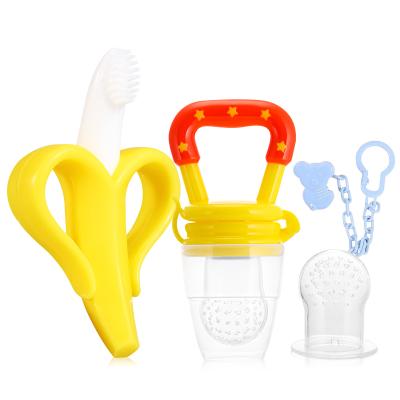 奥克欧婴儿牙胶香蕉磨牙棒+咬咬乐果蔬乐辅食器套装YYL-Y