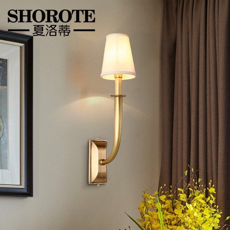 餐厅次主卧室床头梳妆台美式壁灯门厅过道楼梯间美式单双头全铜壁灯图片