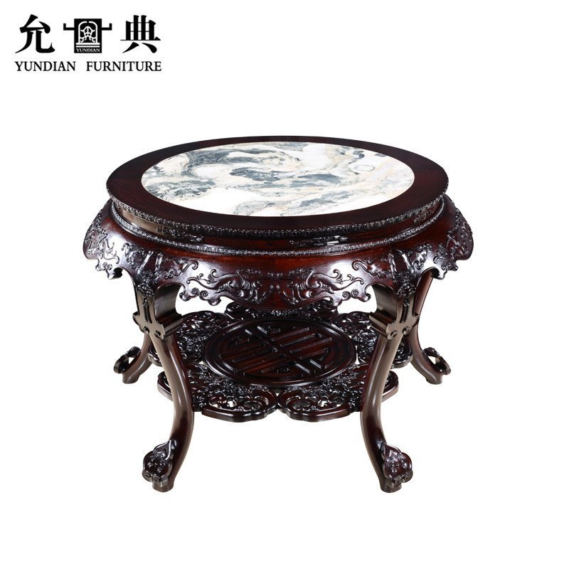 允典红木家具 红酸枝蝠鼠圆台六件套 明清古典圆台 圆桌 圆凳