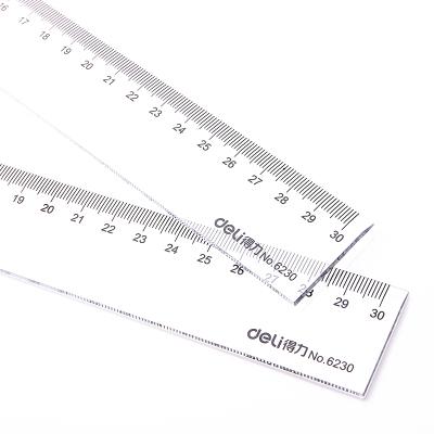 得力文具 deli 6230 30cm 透明直尺 有机直尺 塑料尺
