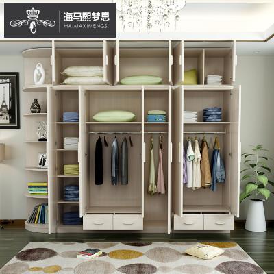 海马熙梦思 简约现代板式衣柜 新款开门带抽屉衣柜 特价大容量储物柜图片