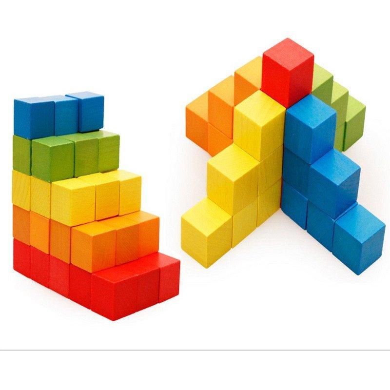 木丸子100粒正方体方块积木制立体几何拼图教具儿童早教益智玩具 高档