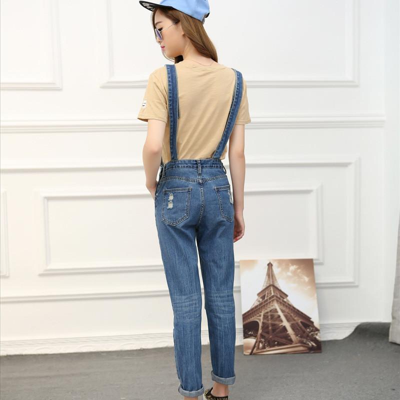 蔚缇牛仔裤背带裤小脚女 大码女装宽松破洞学生可爱牛仔裤1972